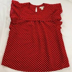 Monteau Red, White Polka Dot Retro Top Size Medium